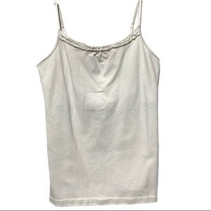 Built in Bra beige tank top with ruffle (A)